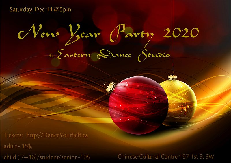 Eastern Dance Studio's  annual New-Year Party poster